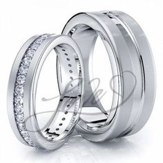 0.70 Carat Deep Groove 7mm His and 5mm Hers Diamond Wedding Ring Set