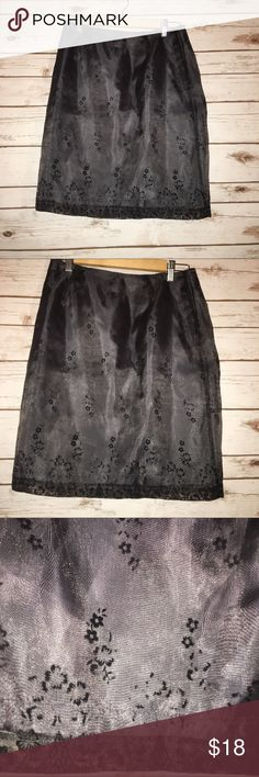 """Dance in Paris Grey/Black A-Line Skirt Size L Size L  Dance in Paris brand   Waist laying flat: 15""""  Length: 22.5""""  Grey with black Floral accents   Has a built in Slip  Zips in the back Dance in Paris Skirts A-Line or Full"""