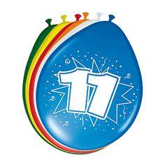 Gekleurde ballonnen 11 jaar. Deze gekleurde ballonnen hebben een opdruk met het cijfer 11 en zijn verpakt per 8 stuks. Formaat: 30 cm.