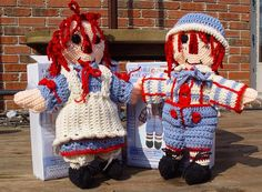 Crochet Raggedy Ann And Andy | Raggedy Ann and Andy - Dolls & Doll Clothes - Crochetville