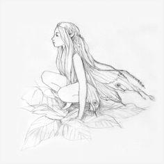 Little fairy by Divenadesign on DeviantArt - Fantasy Figuren Fairy Drawings, Fantasy Drawings, Art Drawings Sketches, Pencil Drawings, Elfen Tattoo, Fairy Sketch, Art Du Croquis, Fairy Tattoo Designs, Anime Art Fantasy