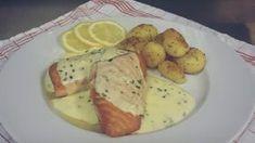 Somon cu Sos de Lamaie Dressing, Diy Food, Fish Recipes, Pesto, Good Food, Goodies, Food And Drink, Vegetables, Cooking