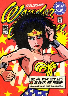 Post-Punk/New Wave Icons as Super Heroes. Siouxsie Sioux as Wonder Woman. Created by Brazilian designer/illustrator Butcher Billy