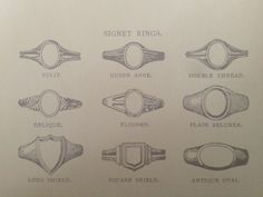 Different styles of signet rings