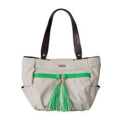 *Miche Canada* The Jordan for Demi Miche Bags features a unique combination of colours, and the effect is absolutely stunning. Ultra-smooth faux leather in the softest shade of dove grey is offset by a delightfully surprising bright green faux belt detail with silver carabiner. And check out the super-fun, extra-long tassels. Side pockets with square bottom. Base Bag and Handles not included.