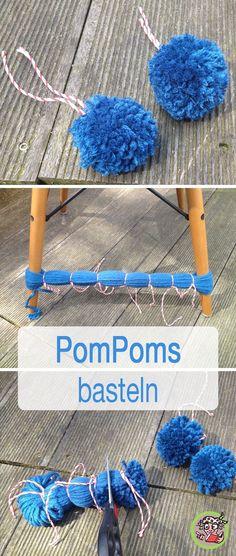 PomPoms in Serie herstellen ~ DIY - Diy gift For Kids Ideen Pom Pom Crafts, Yarn Crafts, Diy And Crafts, Decor Crafts, Pom Pom Rug, Pom Poms, Diy For Kids, Crafts For Kids, Preschool Crafts