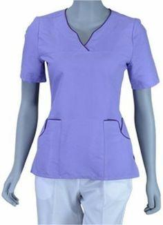 Great color and trimming look Spa Uniform, Scrubs Uniform, Dr Coats, Dental Uniforms, Cute Scrubs, Medical Scrubs, Nursing Tops, Hijab Outfit, Work Wear