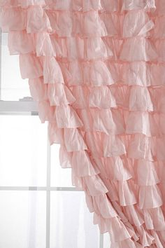 Waterfall Ruffle Curtain in Deep pink instead of closet door
