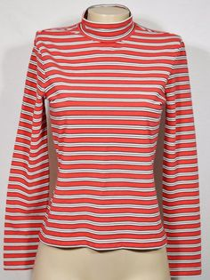 GAP Red Black Beige Striped Mock Turtleneck Top Medium Long Sleeves Cotton Blend #Gap #MockTurtleneck #Casual