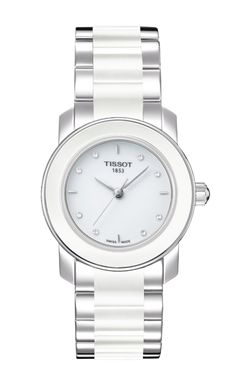Tissot Cera Women's Quartz White Dial Diamond Watch with Stainless Steel Bracelet Stainless Steel Watch, Stainless Steel Bracelet, Fossil, Herren Chronograph, Junghans, Color Plata, Metal Bracelets, Ivoire, Watch Brands