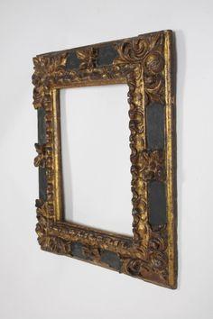 17th Century Spanish Baroque Carved Wood Gold Leaf Frame 2