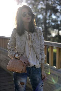 ASOS jacket, Bershka jeans, Zara shirt, Rebecca Minkoff bag, Ray-Ban sunglasses.