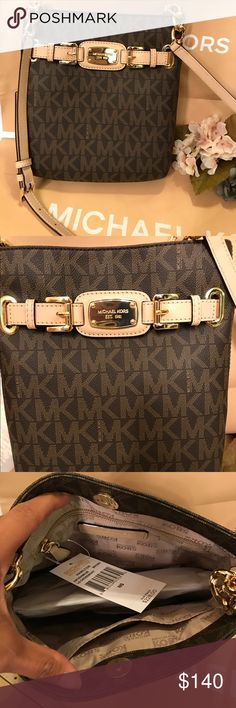 👜MK crossbody New with tags. Large MK crossbody signature style. Crossbody has an extra pouch in the back for storage. Beautiful gold detail along the bottom of the straps and on the front of the bag. No trades Michael Kors Bags Crossbody Bags