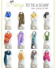 Use scarves to add color and texture to a basic outfit or wardrobe. Check out these clever ways to tie them.