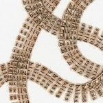 Text Drawings Created by Cutting Thousands of Letters from Books and Religious…