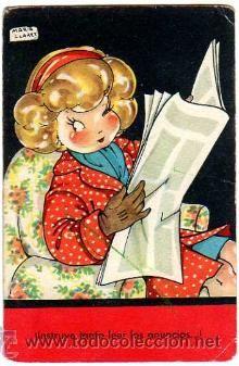 Postal Mari Pepa.  Distra tanto leer los anuncios...