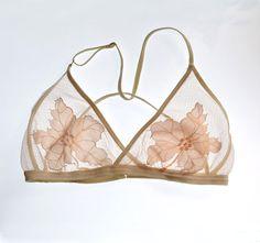 Sheer Bra. Sheer Bralette. Mesh Bralette. Sheer Tulle Bralette with Floral Embroidered Design. Adjustable thin straps. Bridal lingerie. Lingerie straps. Inspiring Lingerie