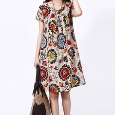 Women Sundress Classic Printing Thin Cotton Short-Sleeved Dress Large Size Cloth on Etsy, $53.99