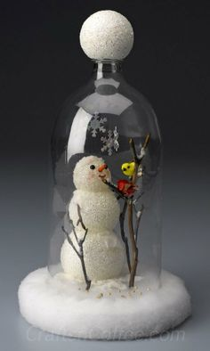 how to make a snowman in a cloche made from a plastic soda bottle