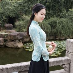 Lovely Floral Lace Chinese Qipao Cheongsam Shirt - Chinese Shirts & Blouses - Women