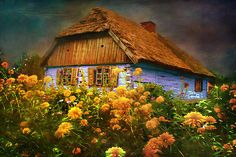 Little Blue Cottage in Poland - blue and orange, cottage, wildflowers, home, house Architecture Wallpaper, Art And Architecture, Beautiful World, Beautiful Places, Peaceful Places, Polish Folk Art, Fairytale Cottage, Foto Art, Indian Paintings