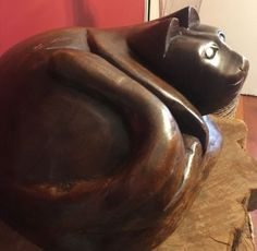 Vintage-hand-carved-Large-Wood-Cat-Statue-15-Lbs