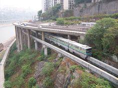 Monorail in Chongqing Vertical City, Chongqing China, Metro Subway, S Bahn, Bus Terminal, Light Rail, Smart City, Urban City, Future City