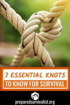 While there are tons of different survival skills We can all agree that knowing how to tie different kinds of knots is essential to surviving any disaster. there are many different knots that you can use in any survival situation but here are the top 7 su Survival Essentials, Survival Prepping, Survival Skills, Survival Gear, Survival Hacks, Bushcraft Skills, Survival Supplies, Survival Backpack, Survival Weapons