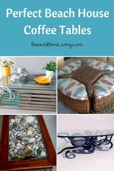 15 Coffee Tables that are the Perfect Match for a Beach House - Beach Bliss Living Beach Cottage Style, Beach Cottage Decor, Coastal Style, Coastal Decor, Coastal Living, Cottage Ideas, Stylish Coffee Table, Beach Living Room, Decorating Coffee Tables
