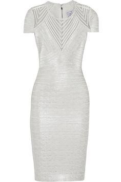 HERVÉ LÉGER Tulle-paneled metallic bandage dress