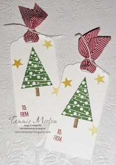 Card Christmas tree trees Tammie Stamps: Festival of Trees Tags The Festival of Trees stamp set and Tree Punch make easy and fun holiday projects. The Scallop Tag Topper Punch is perfect for tags. Christmas Gift Tags, Xmas Cards, Handmade Christmas, Holiday Cards, Christmas Crafts, Handmade Gift Tags, Paper Tags, Advent, Card Tags