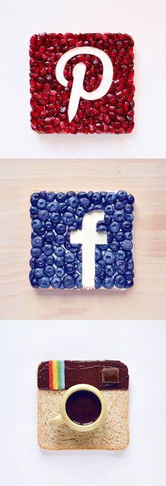 Iconos sociales hechos con comida