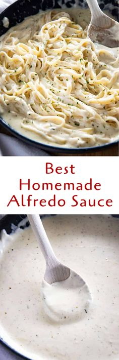 Best Homemade Alfredo Sauce is rich, creamy, and packed with garlic parmesan flavor!  This Alfredo Sauce is easy to make and perfect with your favorite pasta! #alfredosauce #alfredosaucerecipe #alfredosaucerecipeeasy #alfredosaucerecipehomemade #thesaltymarshmallow