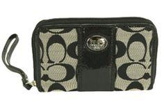 Coach Signature Stripe Poppy Credit Card ID iPhone Wallet Case Bag 61650 Black White