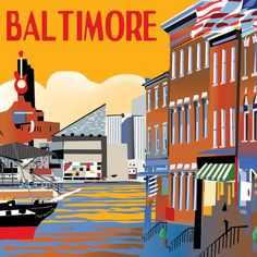 Baltimore travel poster, Washington DC, Baltimore MD and Northern VA