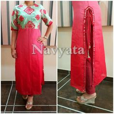 Raw silk and shaded jute kurti. For further details contact us on + 919892398900, + 919930413660