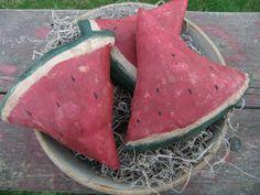 Primitive Watermelon Bowl Fillers Tucks Ornies Summer Decor