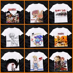 Anime Fairy Tail Natsu/Happy/Gray White Casual T-shirt Costume Tee Tops#N01