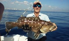Nice snowy #grouper caught on our deep sea #fishing trip out of Fort Lauderdale. Beautiful ocean today. Let's go fishing! www.FishHeadquart...
