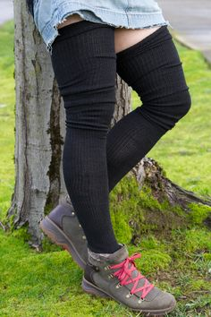 Made in the USA. Sweater socks long enough to be thigh high, these long socks look super cute with a nice thick cuff at their tops, and you can scrunch them for a ruched look, too! Thigh High Boots Heels, Thigh High Socks, Knee Socks, Thigh Highs, Knee Highs, Boot Socks, Frilly Socks, Sexy Socks, Emo Dresses