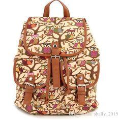 Hot Colorfull Backpack 2016 Exclusive Vintage Rucksack Printing Owl Canvas Women Backpack Mujer Mochila Book School Bag SV004125