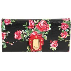 Dolce & Gabbana Women Lucia Rose Printed Leather Clutch featuring polyvore women's fashion bags handbags clutches black studded leather handbags leather clutches locking purse chain strap purse chain handle handbags