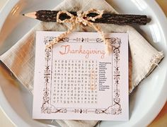 Thanksgiving Word Search Place Cards
