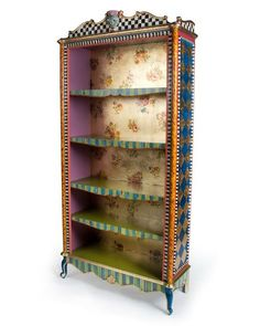 Handcrafted bookcase. Wood composite and wood. Hand-painted Aurora, Courtly Check, stripe, gold-leaf, faux-tortoise, and floral decal decoration. Three adjustable shelves and one fixed shelf. Due to h