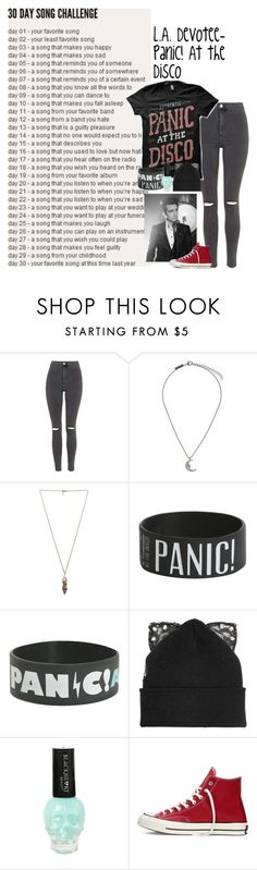 """Day 11// L.A. Devotee by Panic! At the disco"" by dapizzaluver ❤ liked on Polyvore featuring Topshop, Pamela Love, Silver Spoon Attire, Paul Frank and Converse"