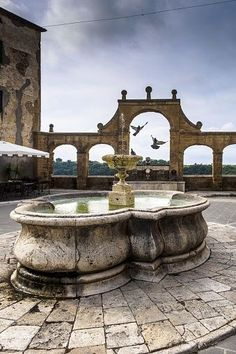 Italy, Toscana, Grosseto province, Pitigliano, Fountain and pigeons flying in background