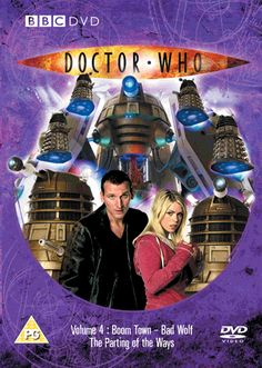 1.4, Boom Town, Bad Wolf and the Parting of the Ways. Starring Christopher Eccleston as the Ninth Doctor and Billie Piper as Rose with Camille Coduri as Jackie, Noel Clarke as Micky and John Barrowman as Jack. Also starring Annette Badland as Margaret the Slitheen, Jo Joyner as Lynda and Nicholas Briggs as the voice of the Daleks with David Tennant as the Tenth Doctor