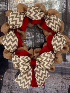 Chevron Burlap Wreath 20-22 inch for front door or accent - Red, White, Gray, and Natural https://www.etsy.com/listing/167971296/chevron-burlap-wreath-20-22-inch-for? www.facebook.com/simplyblessedgifts