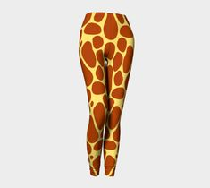 Giraffe Zoo Adult Leggings, Leggings by Brittany Bonnell. Printed leggings with compression fit performance fabric milled in Montreal Shop Art, Design Lab, Printed Leggings, Workout Leggings, Brittany, Giraffe, Felt Giraffe, Giraffes, Print Leggings