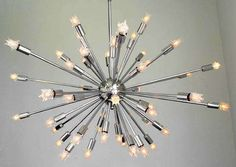 Where To Buy A Sputnik Light Chandelier Sputnik light fixture is the perfect lighting and who does not want to have chandelier. Vintage Chandelier, Vintage Lighting, Cool Lighting, Chandelier Lighting, Lighting Ideas, Mid Century Modern Lighting, Mid Century Modern Design, Vintage Light Fixtures, Let Your Light Shine